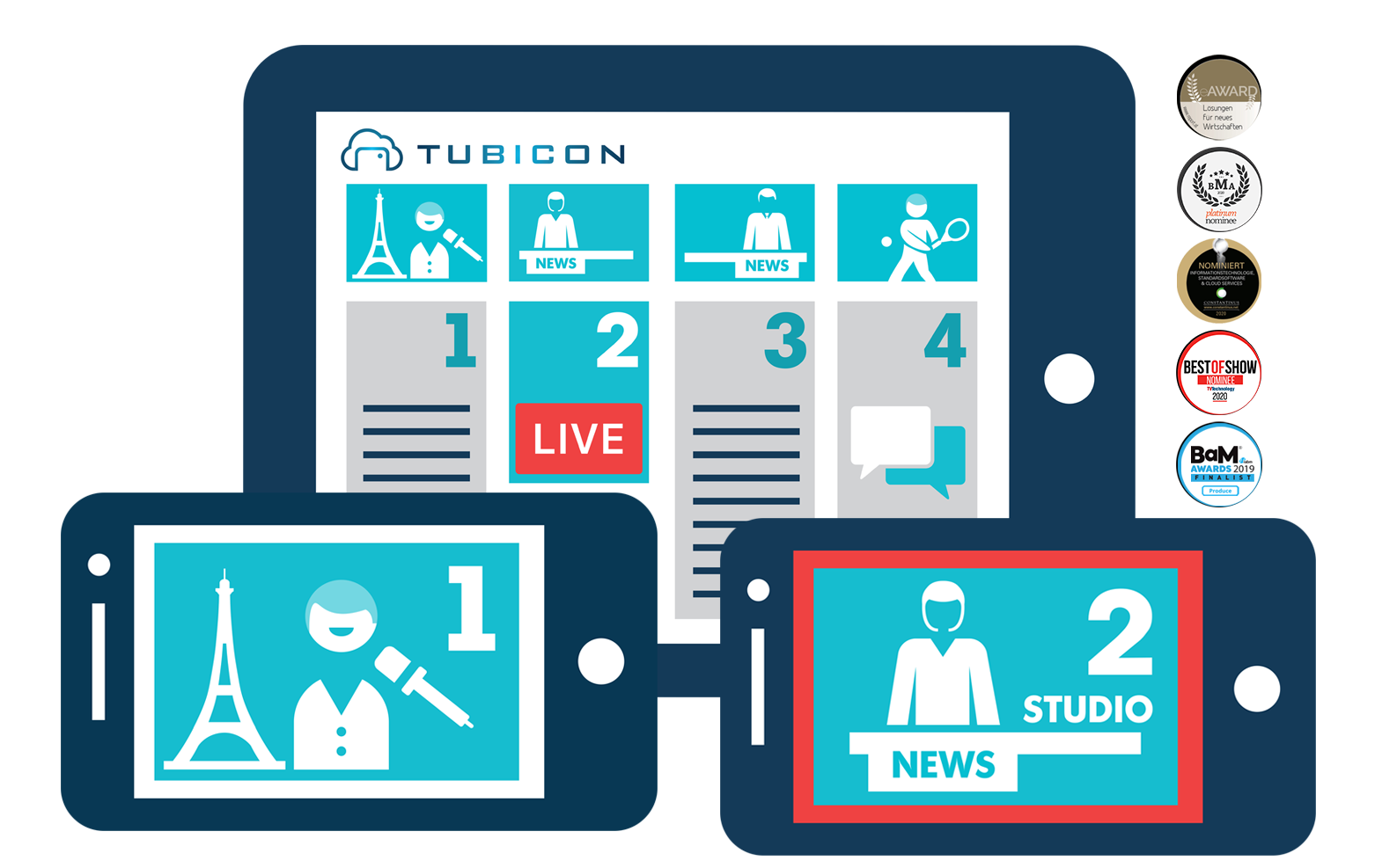 TUBICON app with awards